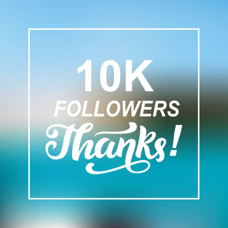 10000 followers thanks. Congratulations card template Stock fotó - 96983265