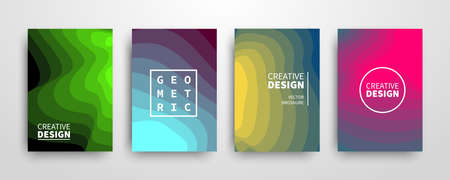 Modern futuristic abstract geometric covers set Ilustracja