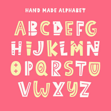 Trendy Kids Alphabet. ABC Hand Lettering