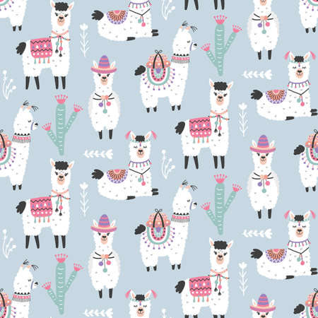 Cartoon Llama Alpaca Seamless Pattern