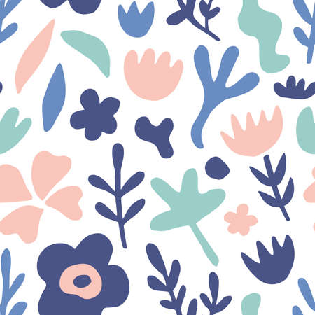 Hand drawn floral seamless repeat pattern Çizim