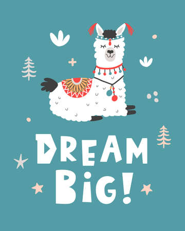 Dream Big. Hand Drawn Poster with Cartoon Llama Vector illustration. Çizim