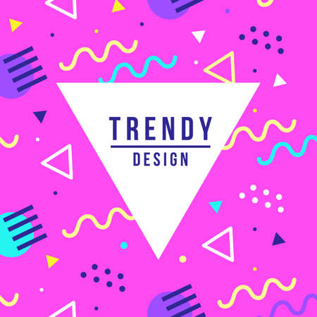 Memphis style banner template. 80-90s trendy fashion background with geometric shapes Çizim
