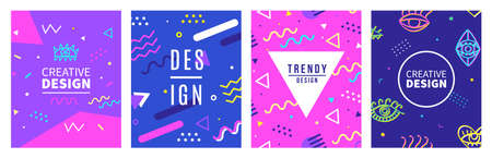 Memphis style banner templates collection. 80-90s trendy fashion background