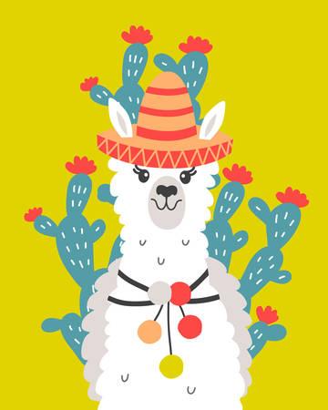 Hand Drawn Poster with Cartoon Llama Vector illustration.