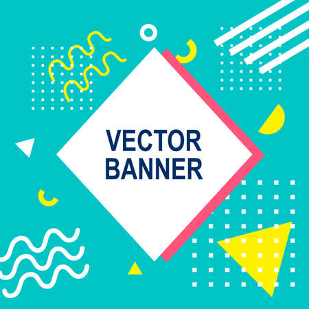 Memphis style banner template trendy fashion background. Иллюстрация