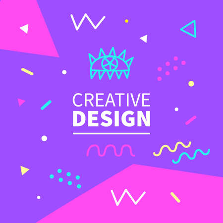 Memphis style banner template. 80-90s trendy fashion background Illustration