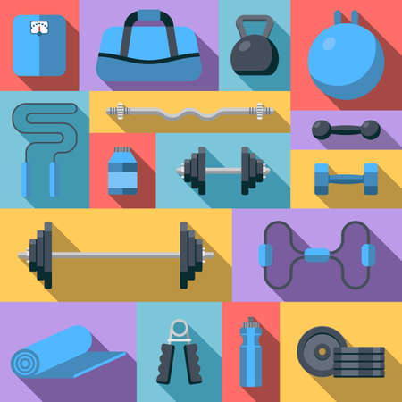 Flat design icons on fitness gym exercise equipment and healthy lifestyle exercise supplements. Gym sport icon set. Vector Illustration