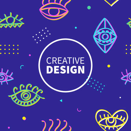 Neon eyes shapes fashion banner template. Memphis 80-90s trendy fashion background. Vector illustration.