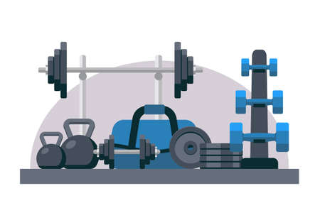 Bodybuilding equipment. Flat design icons on fitness gym exercise equipment Stock Photo