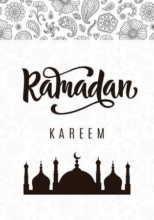 Ramadan Kareem greeting poster with hand written brush calligraphy and mosque silhouette. Beautiful lettering. Typography design template for Islamic holiday gift card. Vector illustration. Çizim
