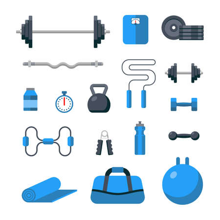 Flat design icons on fitness gym exercise equipment and healthy lifestyle exercise supplements. Gym sport icon set Illustration