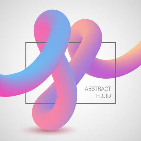 Abstract 3D liquid color shapes. Modern gradient composition. Futuristic design poster