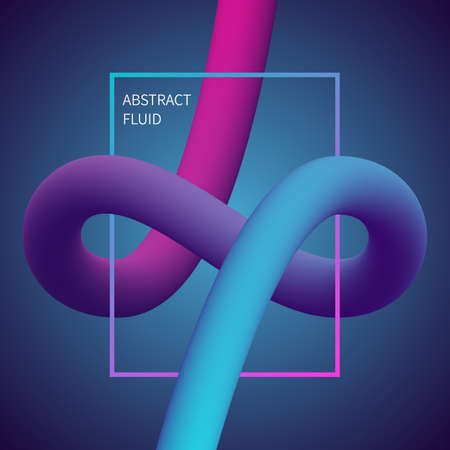 Abstract 3D liquid color shapes. Modern gradient composition