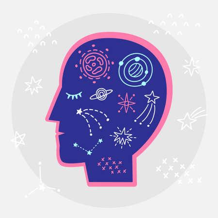 Astrology zodiac symbols, planets, esoteric elements in human head