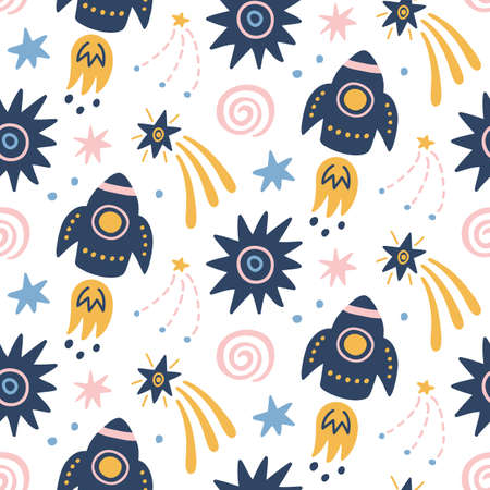 Kindliches nahtloses Muster der Raumgalaxie mit Raumschiffen, Sternen, kosmischen Elementen. Kreativer skandinavischer Kindergartenhintergrund für Kinderbekleidung, Textil, Stoff, Geschenkpapier, Tapete. Nordischer Stil.