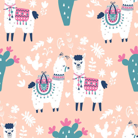 Cartoon Llama Alpaca Seamless Pattern. Hand Drawn Elements