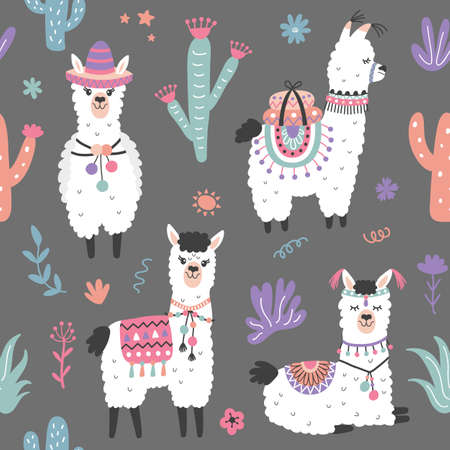 Cartoon Llama Alpaca Seamless Pattern Stockfoto - 101168592