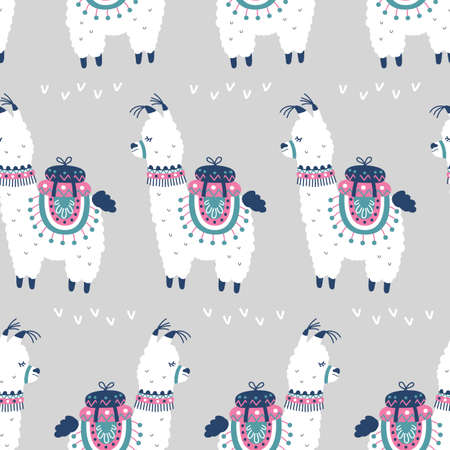 Cartoon Llama Alpaca Seamless Pattern
