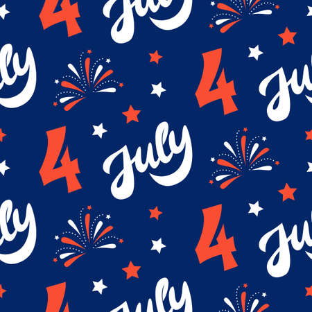 Independence day of America festive seamless pattern background. Patriotic american holiday Fourth of July. Vector illustration. Greeting card, wrapping paper, cover design.