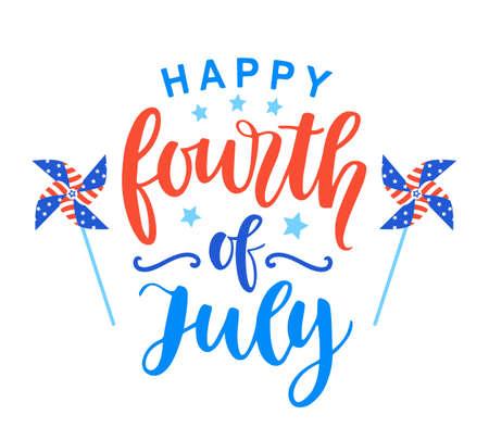 Affiche du 4 juillet avec lettrage à l'encre manuscrite. Conception typographique de la fête de l'indépendance des États-Unis pour bannière, brochure, modèle de carte de voeux. Illustration vectorielle
