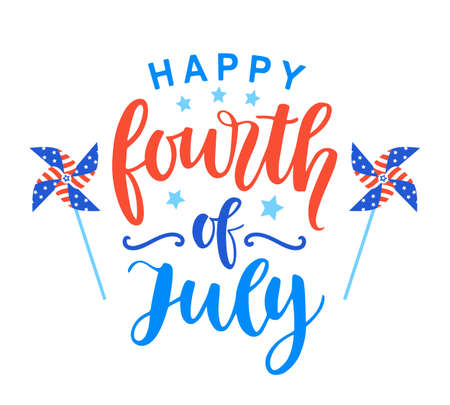 Fourth of July poster with hand written ink lettering. United States of America Independence day typographic design for banner, brochure, greeting card template. Vector illustration
