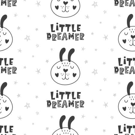 Nursery Childish Seamless Pattern Background With Rabbits Stock Illustratie