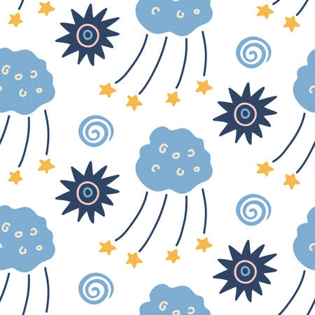 Hand drawn outer space seamless pattern Vettoriali