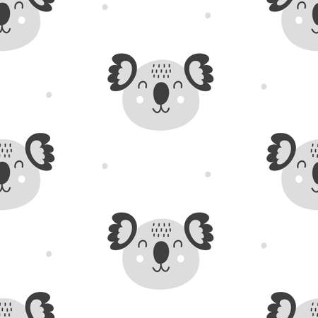 Nursery Childish Seamless Pattern Background With Koala Faces Ilustração
