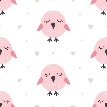 Nursery Childish Seamless Pattern Background With Cute Birds