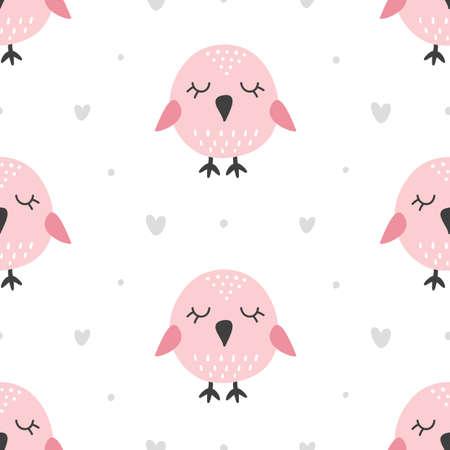 Nursery Childish Seamless Pattern Background With Cute Birds