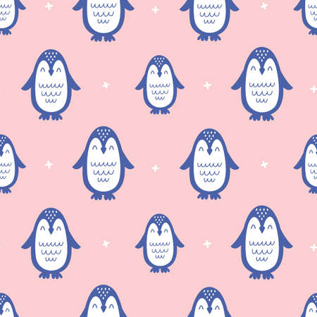 Nursery Childish Seamless Pattern Background With Penguins Illustration