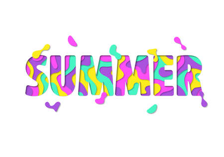 Bright Summer lettering, isolated on white background
