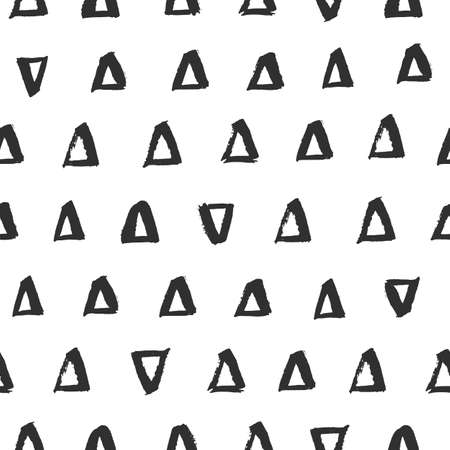 Vector creative seamless pattern with hand drawn brush triangles Illustration