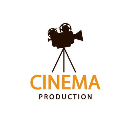 Logo de cinéma. Modèle d'emblème de vecteur Logo