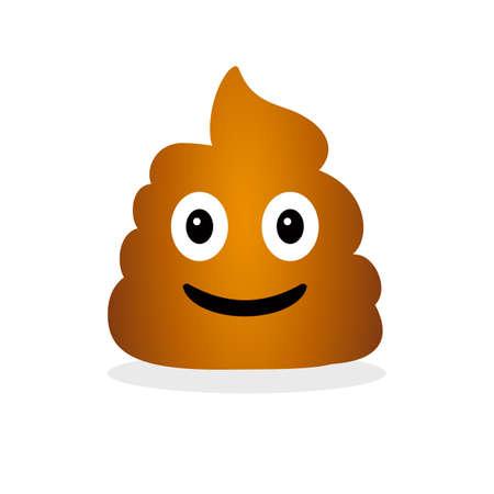 Funny smiling poop. Emotional shit icon