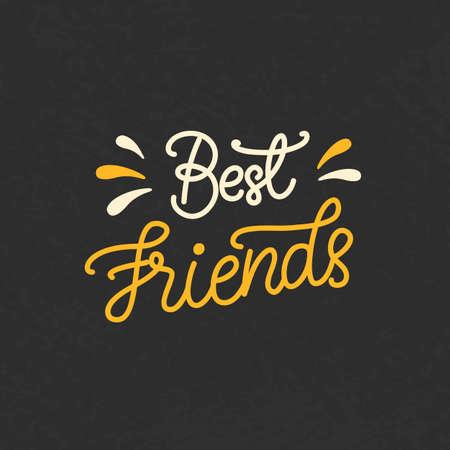 Best Friends hand written brush lettering Illustration
