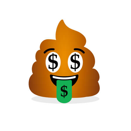 Happy and rich poop emoticon with dollar signs in eyes