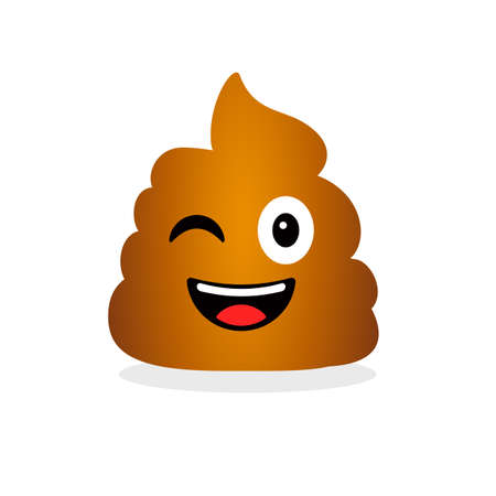 Cute funny poop. Emotional shit icon