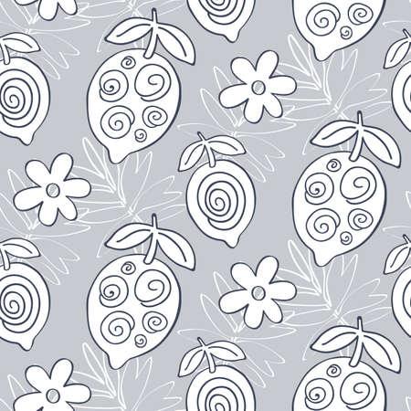 Tropical Lemon fruits seamless pattern
