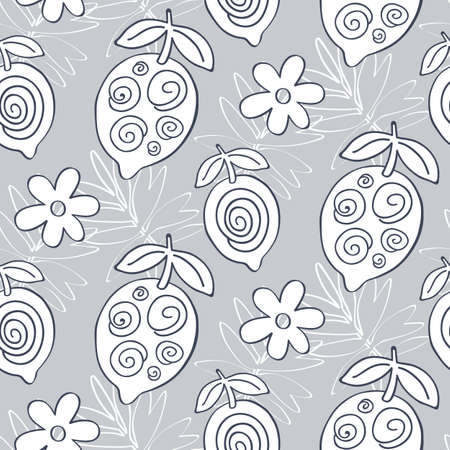 Tropical Lemon fruits seamless pattern Foto de archivo - 103356277