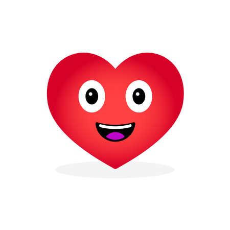 Cartoon Heart Emoticon, isolated on white background