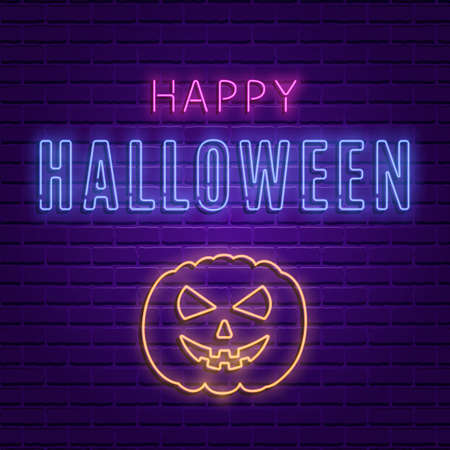 Happy Halloween bright signboard with pumpkin Banque d'images - 104240006