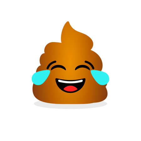 Funny laughing poop. Emotional shit icon