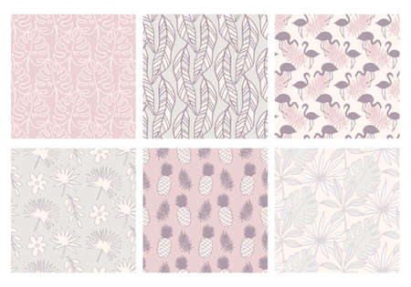Summer tropical seamless patterns collection 向量圖像