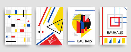 Retro geometric bauhaus, memphis covers templates set Illustration