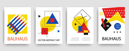 Retro geometric bauhaus, memphis covers templates set Illustration