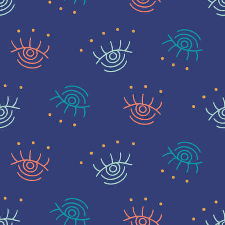 Vector hand drawn boho eyes doodles seamless repeat pattern. Ethnic fabric background, modern textile print, clothes, wallpaper, wrapping paper. Bohemian fashion. Trendy surface design.