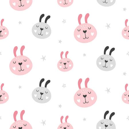 Nursery Childish Seamless Pattern Background With Rabbit Faces. Hand Drawn Scandinavian Style Trendy Textile, Wallpaper, Wrapping Paper Design. Vector illustration