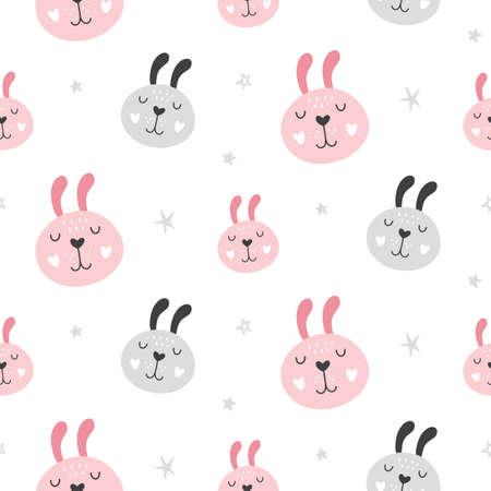 Fondo senza cuciture puerile della scuola materna con i fronti del coniglio. Disegnato a mano stile scandinavo alla moda tessile, carta da parati, carta da imballaggio Design. Illustrazione vettoriale
